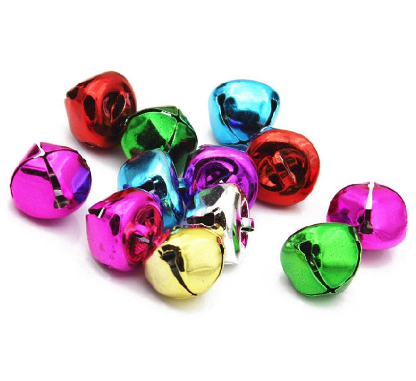 80 RINGING JINGLE BELLS CHARMS 10mm XMAS ASSORTED COLOURS TOP QUALITY