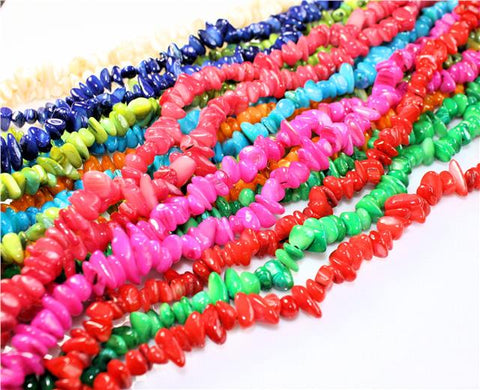 100 / 50 SHELL BEADS CHIPS 8mm - 11mm COLOURFULL MIX  GC4