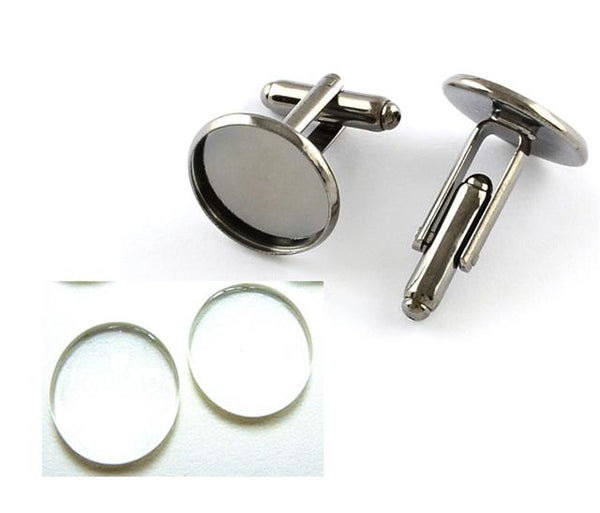 16mm ROUND CUFFLINK CABOCHON GLASS SETTING BLANKS SILVER PLATED