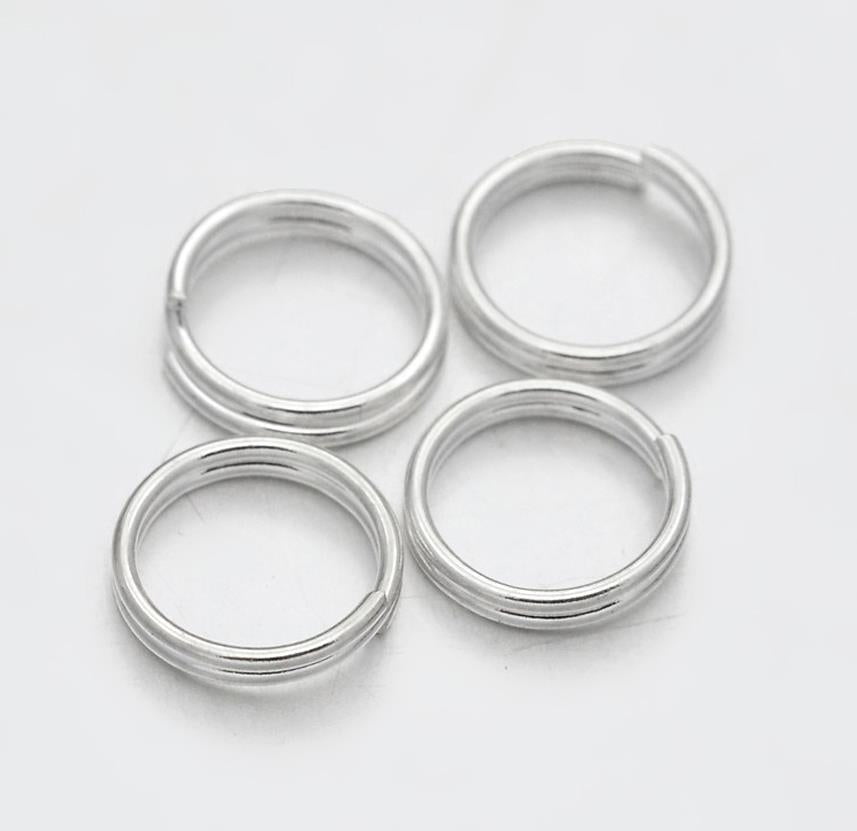 200 DOUBLE LOOP SPLIT SILVER PLATED JUMP RINGS 5mm TOP QUALITY
