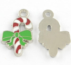 5 CANDY CANE ENAMEL XMAS CHARMS PENDANT 24mm TOP QUALITY C214