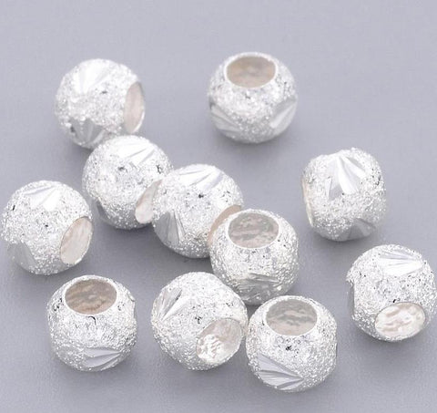25 FANCY METAL STARDUST BEADS SILVER PLATED 6mm LARGE 3mm HOLE