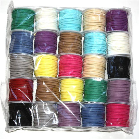 FAUX SUEDE THONG CORD 25 REEL PACK 5mtrs X 3mm SPECIAL OFFER