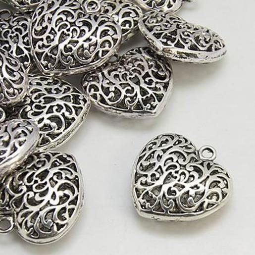 TIBETAN SILVER LARGE PUFFED FILIGREE HEART PENDANTS 35mm TOP QUALITY C96