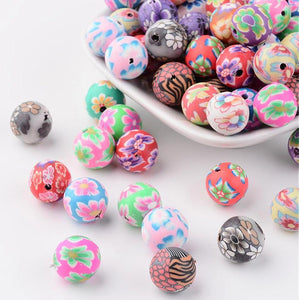 25 FIMO CLAY FLOWER BEAD ROUND 12mm MIXED COLOUR (MSC1)