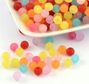 100 ACRYLIC FROSTED BEADS 8mm MIXED COLOURS TOP QUALITY ACR32