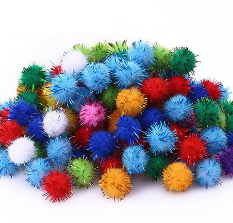 GLITTER POM POMS 15mm 20mm 25mm XMAS ASSORTED COLOURS