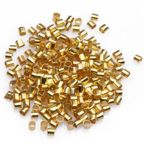 500 x GOLD PLATE 2.5mm TUBE CRIMP BEADS FINDINGS