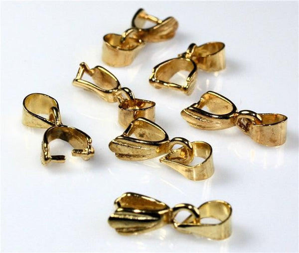 20 PENDANT PINCH BAILS 15mm x 5mm  SILVER / GOLD PLATED TOP QUALITY