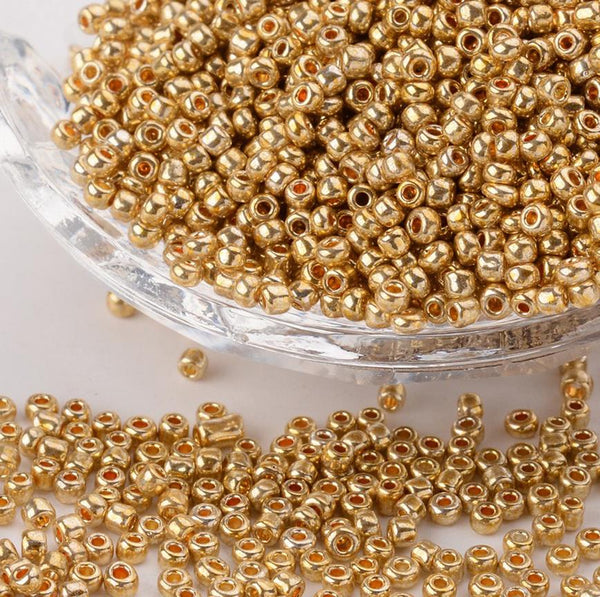 GOLD METALLIC GLASS SEED BEADS 50g 11/0- 2mm 8/0 3mm