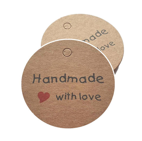50 CRAFT PAPER TAGS KRAFT HANDMADE WITH LOVE ' GIFT JEWELLERY WEDDING XMAS MSC15
