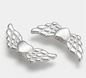10 HEART ANGEL WINGS CHARMS PENDANTS BRIGHT TIBETAN SILVER 22mm TOP QUALITY C34