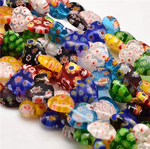 10 or 20 HEART FLOWER MILLEFIORI GLASS BEADS 14mm
