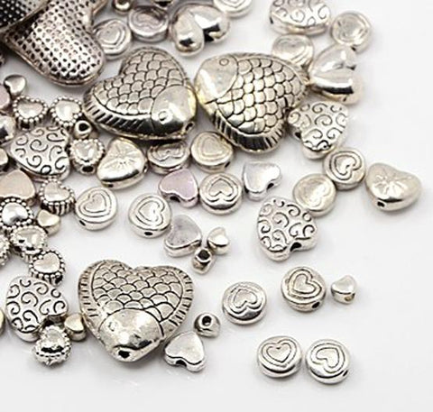 TOP QUALITY ASSORTED TIBETAN SILVER HEART SPACER BEADS 25gram or50gram BAG(TS45)