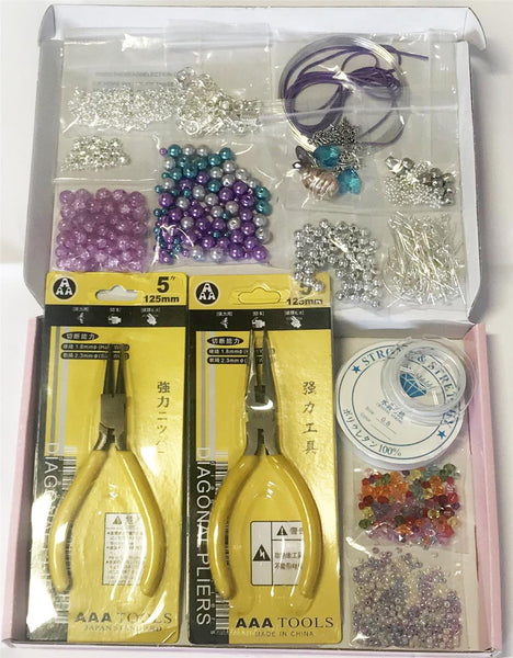 JEWELLERY MAKING KIT BEGINNERS STARTER BOXED PHOTO INSTRUCTIONS BEADS PLIERS