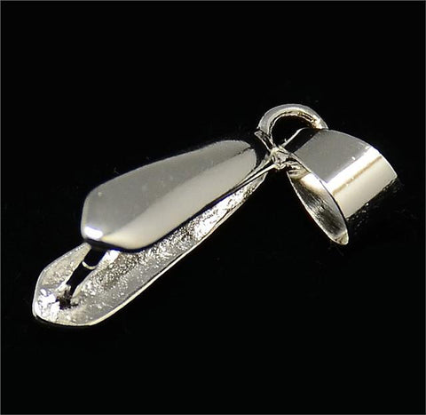 TOP QUALITY LARGE PENDANT PINCH BAILS 19mm x 10mm  SILVER PLATED B2