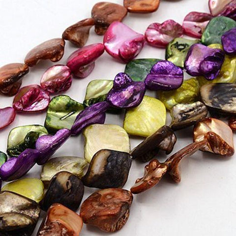 18 FRESHWATER SHELL BEADS LARGE 21mm  COLOURFULL MIX