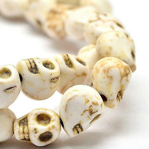 25 LARGE SKULL BEADS 15mm SYNTHETIC HOWLITE TOP QUALITY MSC13