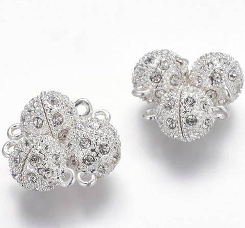 ROUND BALL RHINESTONE MAGNETIC CLASP VERY STRONG LARGE 20mm ( AF13 )