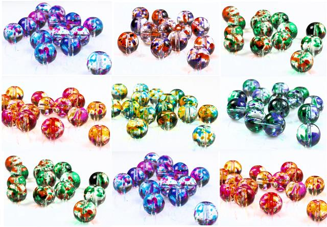 SPLATTER DRAWBENCH TRANSLUCENT GLASS BEADS choose 6mm 8mm 10mm
