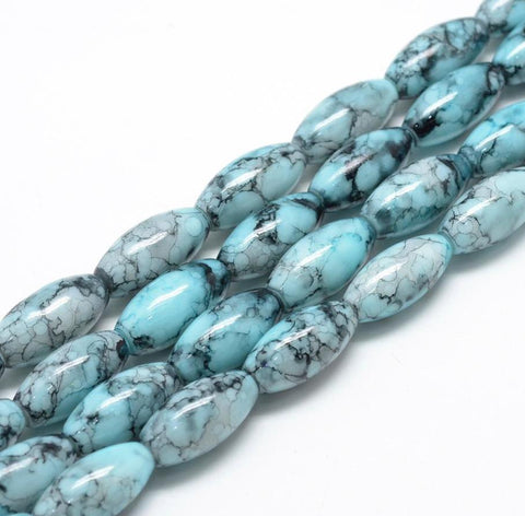 20 'WILD ORCHID' DRAWBENCH OVAL GLASS BEADS 22mm TEAL BLUE TOP QUALITY GLS18