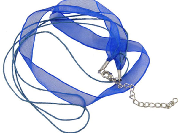 10 ORGANZA RIBBON AND WAXED CORD NECKLACE WITH LOBSTER CLASPS & CHAINS