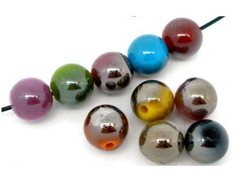 TOP QUALITY PLATED ACRYLIC BEADS MIXED COLOURS choose 10mm 12mm 14mm