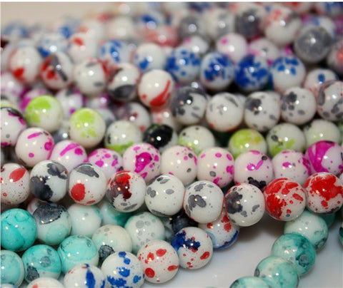NEW POLKA DOT DRAWBENCH GLASS BEADS choose 6mm 8mm COLOUR CHOICE