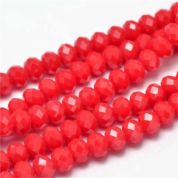 80pcs 6mm or 40pcs 8mm FACETED RONDELLE CRYSTAL GLASS BEADS COLOUR CHOICE