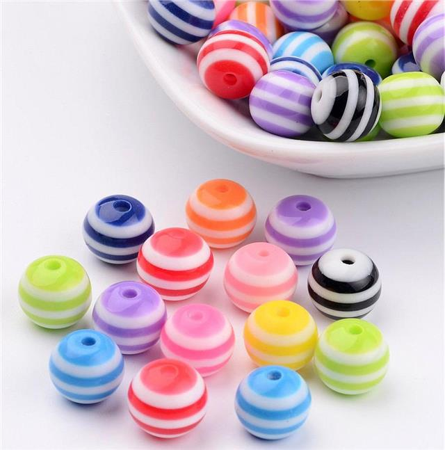 STRIPED ROUND RESIN ACRYLIC BEADS 50 per bag 10mm COLOURFUL RAINBOW MIX ACR20