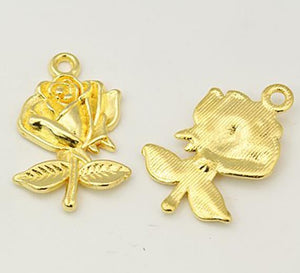 10 TIBETAN STYLE ROSE FLOWER CHARMS PENDANTS GOLD PLATED 22mm x 17mm C84