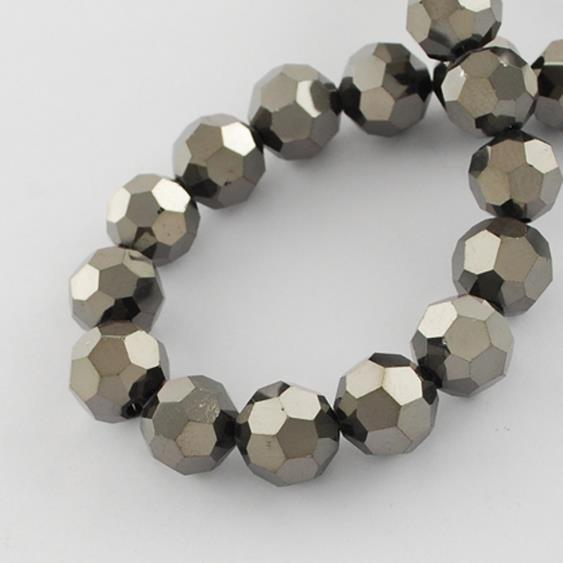 FACETED ROUND CRYSTAL GLASS BEADS 8mm 6mm 4mm METALLIC BLACK