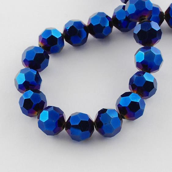 FACETED ROUND CRYSTAL GLASS BEADS 8mm 6mm 4mm METALLIC PURPLE