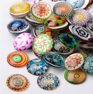 10 ROUND MOSAIC PRINTED CLEAR GLASS DOMED CABOCHONS 20mm CAB19