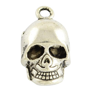 10 SKULL CHARMS PENDANTS BRIGHT TIBETAN SILVER 20mm TOP QUALITY C10