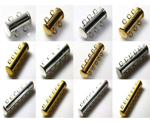 2 3 4 5 6 7 8 STRAND MAGNETIC SLIDE LOCK CLASPS SILVER or GOLD PLATED