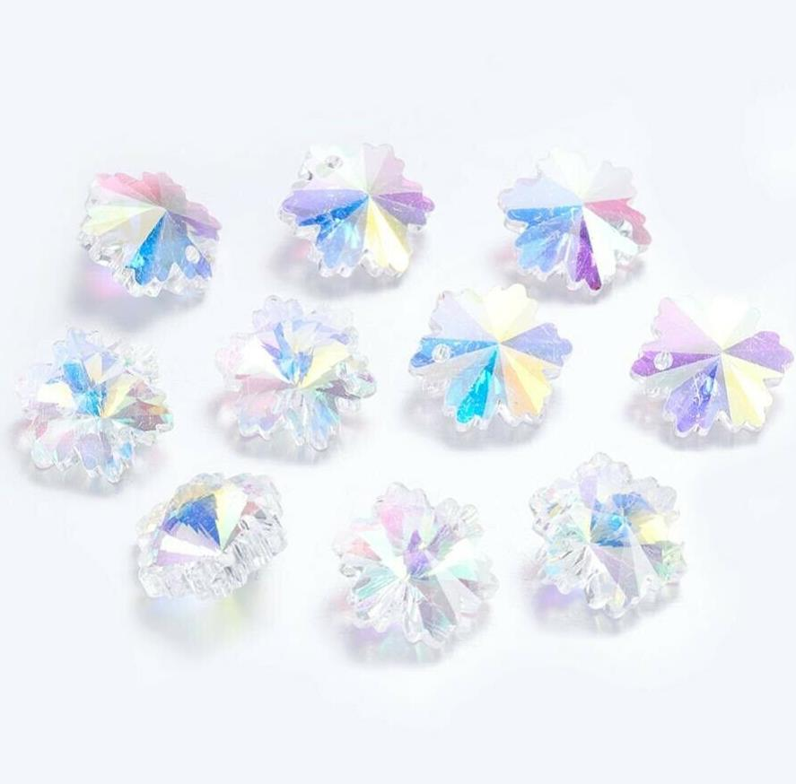 10 PENDANT SNOWFLAKE FACETED CRYSTAL GLASS BEADS 14mm XMAS RAINBOW AB GLS15