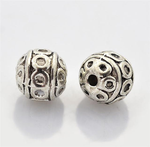 TOP QUALITY 20 TIBETAN SILVER ROUND SPACER BEADS 8mm ( TS28 )