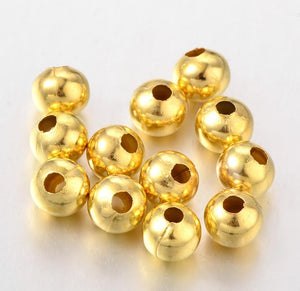 8mm ROUND SPACER BEADS GOLD PLATED 100 per bag TOP QUALITY TS68