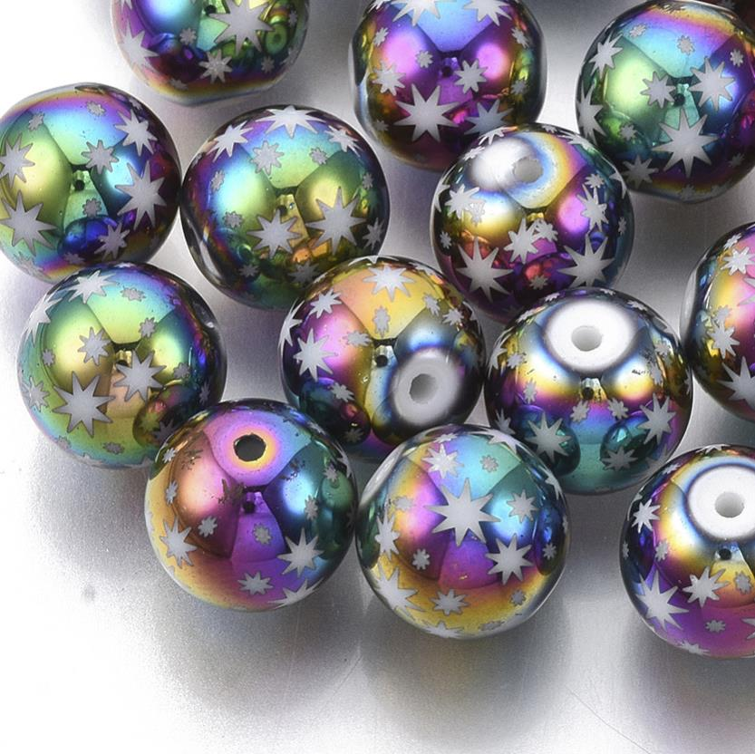 20 RAINBOW STAR GLASS ROUND BEADS 10mm TOP QUALITY GLS44