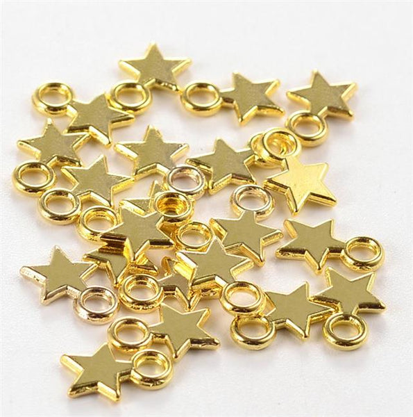 STAR CHARMS PENDANTS GOLD PLATED 10mm TOP QUALITY C143