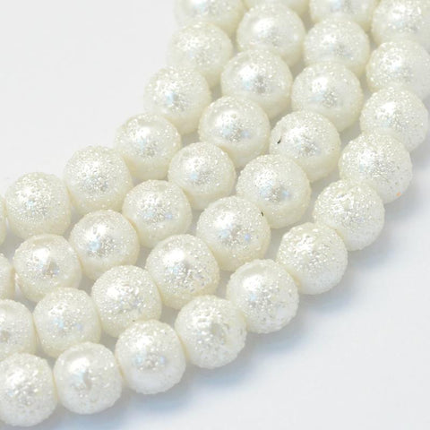 50 WHITE GLASS PEARL STARDUST XMAS TEXTURED MOON BEADS 8mm GLS22