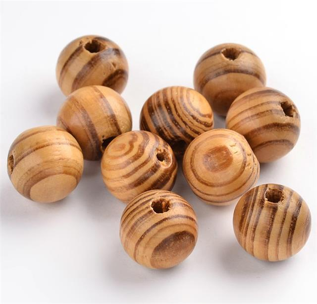 100 per bag 8mm STRIPED ROUND BURLY WOODEN BEADS 2.5mm HOLE