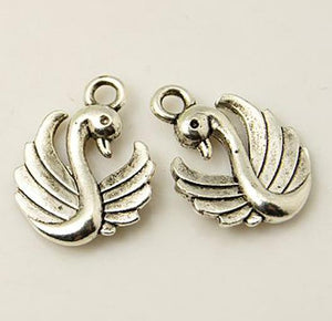 10 x SWAN CHARMS PENDANTS BRIGHT TIBETAN SILVER 3D 17mm TOP QUALITY ( C42 )