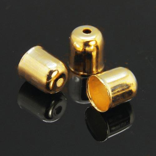 40 CORD TASSEL END CAPS BAIL TIPS 8mm x 7mm HOLE 6mm GOLD PLATED ( AM6 )