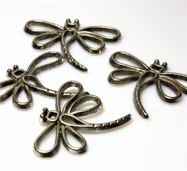 4 TIBETAN SILVER DRAGONFLY CHARMS PENDANTS 31mm TOP QUALITY C83