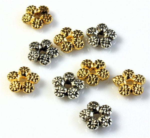 SNOWFLAKE DAISY SPACER BEADS 7mm 40 PER BAG TIBETAN SILVER / GOLD