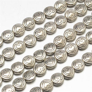 20 TIBETAN SILVER FLAT ROUND HEART SPACER BEADS 7mm TOP QUALITY (TS10)