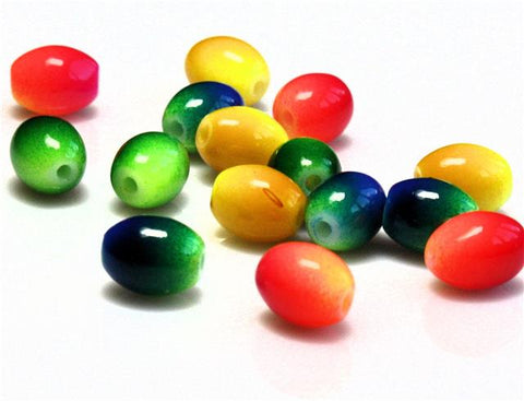 TWO TONE COLOURED OVAL GLASS BEADS choose 6mm 8mm MIXED SUMMER TONES