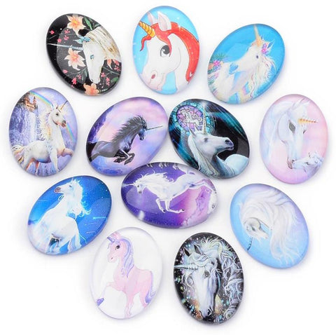 10 OVAL UNICORN PRINTED CLEAR GLASS DOMED CABOCHONS 25mm X 18mm CAB20